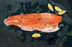 Il raccordo di color salmone crudo con il limone ed i rosmarini sullo scheggiato su ghiacciano il contesto di pietra scuro fotografia stock libera da diritti