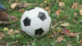 Il ragazzino colpisce il suo piede su un pallone da calcio all'aperto stock footage
