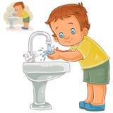 Il ragazzino di vettore si lava le sue mani con acqua da un rubinetto illustrazione di stock