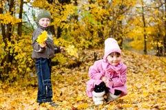 Il ragazzino e la ragazza giocano in una sosta in autunno Fotografie Stock