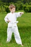 Il ragazzino fa gli esercizi di karatè Fotografia Stock Libera da Diritti
