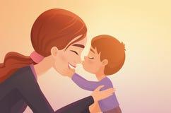 Il ragazzino sveglio bacia la sua illustrazione felice di vettore del fumetto della madre illustrazione di stock