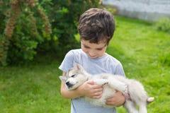 Il ragazzino sveglio tiene sull'le mani un cucciolo del husky di sonno Fotografie Stock Libere da Diritti