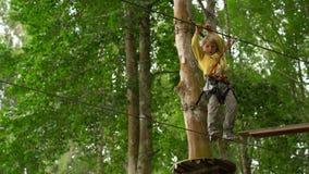 Il ragazzino in un cavo di sicurezza scala su un itinerario in cime d'albero in un parco di avventura della foresta Scala sull'al video d archivio