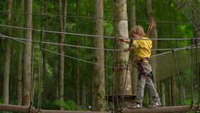 Il ragazzino in un cavo di sicurezza scala su un itinerario in cime d'albero in un parco di avventura della foresta Scala sull'al stock footage