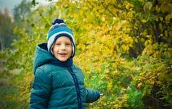 Il ragazzo è nel parco di autunno Immagini Stock