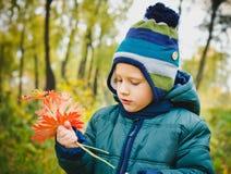 Il ragazzo è nel parco di autunno Fotografia Stock