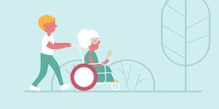 Il ragazzo accompagna la donna anziana illustrazione vettoriale