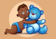 Il ragazzo afroamericano abbraccia il giocattolo di Teddy Bear su bianco Fotografia Stock Libera da Diritti