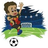 Il ragazzo allegro in abiti sportivi gioca a calcio illustrazione di stock