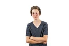 Il ragazzo allegro felice gode della vita fotografia stock libera da diritti
