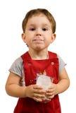 Il ragazzo beve il latte Fotografia Stock