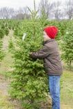 Il ragazzo che abbraccia l'albero di Natale perfetto ha trovato sull'azienda agricola di albero Immagine Stock