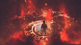 Il ragazzo che cammina sui cerchi magici illustrazione vettoriale