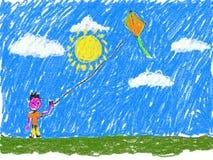 Il ragazzo che pilota un bambino dell'aquilone gradisce il materiale illustrativo Immagine Stock