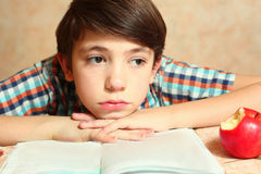 Il ragazzo con il libro e la mela pensano Fotografia Stock