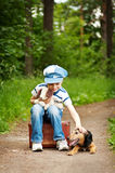 Il ragazzo con il suo cane Immagine Stock Libera da Diritti