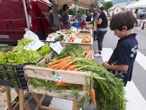 Il ragazzo controlla le verdure sul mercato dell'aria aperta di briancon nell'Alta Provenza francese Fotografia Stock