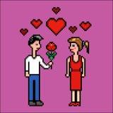 Il ragazzo dà il fiore ad una ragazza, il giorno di biglietti di S. Valentino, illustrazione di vettore di arte del pixel Fotografie Stock Libere da Diritti