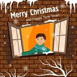 Il ragazzo dai fiocchi di neve dei fermi della finestra Illustrazione di vettore fotografie stock libere da diritti