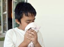 Il ragazzo dell'Asia ha ottenuto l'allergia della polvere Fotografie Stock Libere da Diritti
