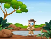 Il ragazzo dell'esploratore con la lente d'ingrandimento nella natura illustrazione vettoriale