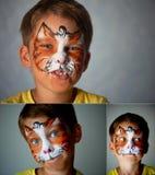 Il ragazzo di anni con gli occhi azzurri affronta la pittura di un gatto o di una tigre Arancio collage Immagine Stock