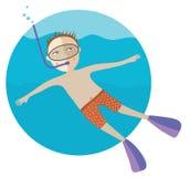 Il ragazzo di immersione subacquea Immagine Stock Libera da Diritti