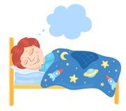 Il ragazzo dorme in un letto illustrazione vettoriale