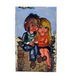 Il ragazzo e la ragazza nella maschera Fotografie Stock Libere da Diritti