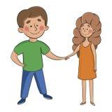 Il ragazzo e la ragazza si tengono per mano uomo e donna su bianco illustrazione di stock