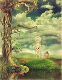 Il ragazzo e le pecore su un glade raccolgono i fiori illustrazione di stock