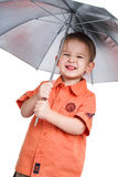 Il ragazzo e un ombrello Fotografie Stock Libere da Diritti
