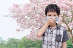Il ragazzo ha allergia dal polline del fiore Immagine Stock Libera da Diritti