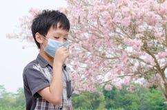 Il ragazzo ha allergia dal polline del fiore Fotografia Stock