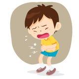 Il ragazzo ha dolore di stomaco Immagini Stock