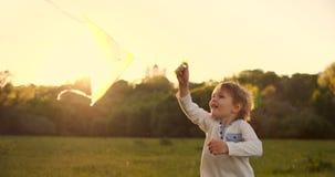 Il ragazzo lancia un aquilone Albero nel campo sunny Il ragazzo in una maglietta grigia con un aquilone Un ragazzo dell'aspetto e archivi video