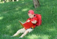 il ragazzo legge il manuale di seduta immagine stock libera da diritti