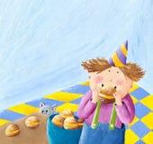 Il ragazzo mangia le guarnizioni di gomma piuma mentre il gatto sta guardando illustrazione di stock