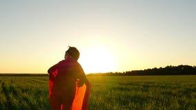 Il ragazzo nel costume di un supereroe in un mantello rosso funziona su un prato inglese verde contro il contesto di un tramonto  archivi video