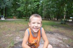 Il ragazzo nel parco Fotografia Stock Libera da Diritti