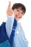 Il ragazzo più gentile sorridente del giardino dà i pollici in su Fotografie Stock Libere da Diritti