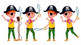 Il ragazzo posa il vettore stabilito Prestazione pubblica Pirata, Saber, cranio Per la pubblicità, saluto, progettazione di annun illustrazione vettoriale
