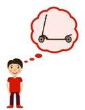Il ragazzo sogna il motorino del aboit I bambini desidera un giocattolo Fotografia Stock Libera da Diritti