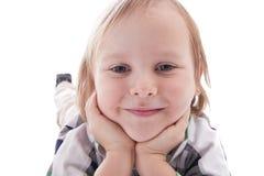 Il ragazzo sorridente è il tu vicino la macchina fotografica fotografia stock