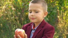Il ragazzo sta mangiando una mela video d archivio