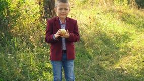 Il ragazzo sta mangiando una mela stock footage