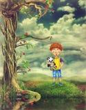Il ragazzo su una radura illustrazione vettoriale