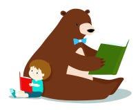 Il ragazzo sveglio e l'orso lanuginoso stanno leggendo un libro illustrazione vettoriale