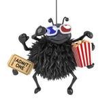 il ragno 3d sta guardando un film 3d Fotografia Stock